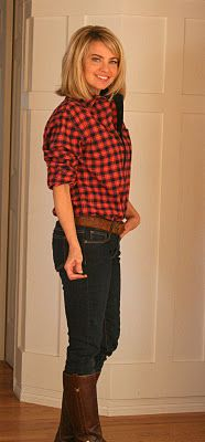 Lumberjack Chic  Plaid Shirt, jeans, boots from Goodwill