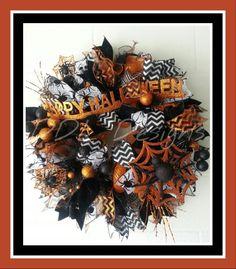 Happy Halloween Deco mesh Spider wreath. DDL DESIGNS $85 Plus $15 shipping