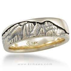 Mountain Wedding Band - This wedding band has hand-carved mountains. The ring shown depicts the Catalina Mountains, which overlook our own Tucson, Arizona. Order your own with your favorite mountain range! The space between the mountains and the sky has a darkened groove.