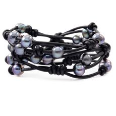 Peacock Blue Pearl Triple Wrap Bracelet on Black Leather