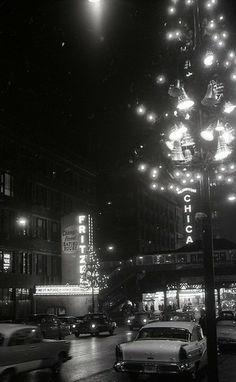 Christmas at State and Lake (including famous Fritzel's restaurant), 1957, Chicago.