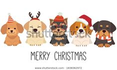 Character Cute Dog Wear Christmas Costume Stock Vector (Royalty Free) 1838362972