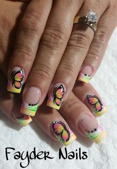 Color Crazy Nails, Funky Nails, Fingernail Designs, Nail Polish Designs, Pretty Nail Designs, Diy Nail Designs, Gorgeous Nails, Pretty Nails, Butterfly Nail Art