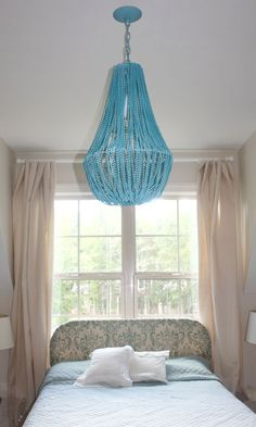 Beaded Chandelier Tutorial  Love this! Must try it out in the dining room. Or at least a modified version.