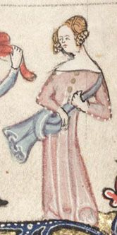 The Romance of Alexander, circa 1344, Flemish. Bodleian Library Manuscript 264, Folio 130v-b. This example is a bit weak as it is not clear that the circular gold objects on the front of her dress are buttons and not brooches of some kind. The same gold decoration appears at the tops of her sleeves too, even though smaller white dots indicate regular sleeve buttons. mid-14th century, France/Belgium. (source: http://gallica.bnf.fr/scripts/ConsultationTout.exe?O=08100225)