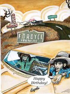 Wes Freed from Drive By Truckers, painting of Keith Richards and Ronnie Wood driving thru Arkansas in the 1970's