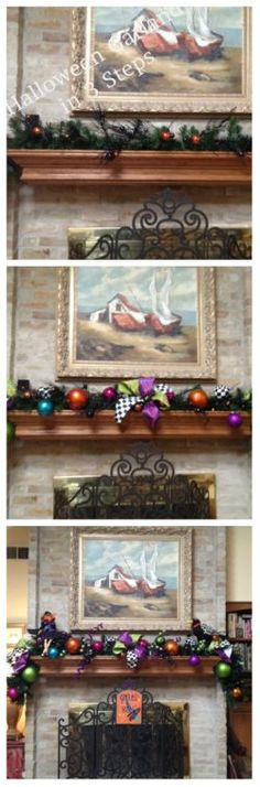 Halloween #Mantle in 3 steps with 3 key ingredients-Ribbon, Balls, and Picks.
