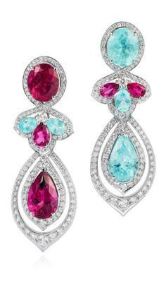 One-of-a-kind VanLeles white gold earrings set with Brazilian Paraiba tourmalines, rubellites and diamonds.