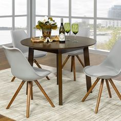 Kokia Dining Set in Walnut Round Dining Table, Dining Set, Dining Chairs, Dining Room, Walnut Finish, Side Chairs, Ash, Mid-century Modern, Apron