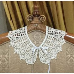Ecru Crochet Collar Handmade Lace Collar Woman Neck Accessory Knitted... (€21) ❤ liked on Polyvore featuring accessories