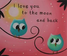 ImpactArtStudio- Love You To The Moon Owl Canvas Painting Baby Girl Nursery Gift