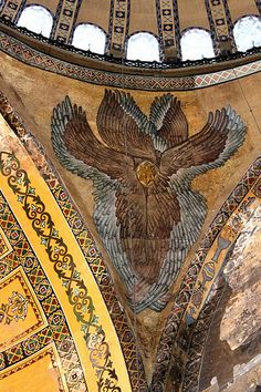Istanbul: Hagia Sophia angel mosaic in pendentive Byzantine Architecture, Art And Architecture, Sainte Sophie, Byzantine Art, Hagia Sophia, Expositions, Angels And Demons, Orthodox Icons, Medieval Art