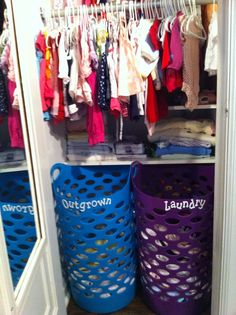 Closest organization for Baby - I love the basket for outgrown. That's something I just can't keep up with!