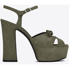 Saint Laurent Candy 80 Bow Sandal (€860) ❤ liked on Polyvore featuring shoes, sandals, strap platform sandals, chunky heel platform shoes, wide heel sandals, suede sandals and bow t-strap sandal