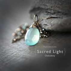 Sacred Light - Aqua Blue Chalcedony Briolette Wire Wrapped Sterling Silver Necklace