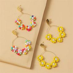 Beaded Jewelry Designs, Jewelry Design Earrings, Handmade Beaded Jewelry, Seed Bead Jewelry, Earrings Handmade, Necklace Designs, Hoop Earrings, Necklace Ideas, Diy Earrings Beads