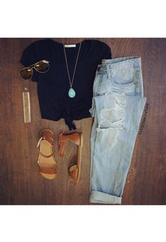 Carmel Knot Crop Top - Black