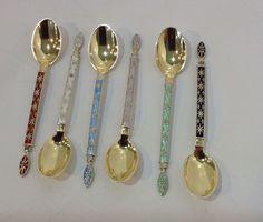 enamel sterling coffee spoons. set 6. Tostrup Norway. original box. vintage