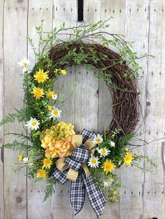 Yellow Country Spring or Summer Garden Door Wreath, Summer Farm House Decor with Daisies and Peony . Dainty and Delightful. Large pretty yellow Peony is the s Diy Wreath, Grapevine Wreath, Spring Front Door Wreaths, Spring Wreaths, Mothers Day Wreath, Outdoor Wreaths, Garden Doors, Easter Wreaths, Summer Wreath