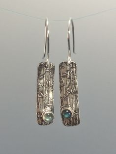 Long Bar Earrings - Silver Bar Earrings - Bridesmaid Gift - Fine Silver - Gemstones - Bamboo Texture - Rectangular Dangle Earrings by bgConstructions on Etsy Mixed Metal Jewelry, Metal Clay Jewelry, Cowgirl Jewelry, Gothic Jewelry, Bar Earrings, Silver Earrings, Bullet Jewelry, Geek Jewelry, Country Jewelry