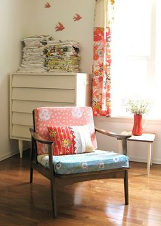 Granny Chic Chair, love the shape of the chair and the fabric.
