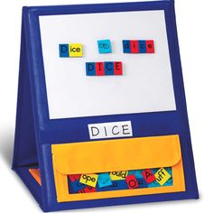 This self-standing, double-sided pocket chart features a magnetic write-on/wipe-off board on top and three storage pockets. Has a sturdy handle and collapses for easy storage. Use with magnetic tiles or magnetic letters or numbers.