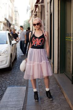 I just want to give this girl a high five for going girlie with a MF SLAYER tee.