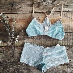 Yes ladies, we heard you! We've been receiving requests for matching panties to be paired with our bralettes, so that's exactly what we did! We've updated our website with new panty collections. Check them out! — 📷: @boutiquelapenderie  Shop Allie Racerback Bralette + Milly Panty in Aqua by Sokoloff Lingerie: www.summerandpeach.com   #summerandpeach Bralettes, Crochet Bikini, Bikinis, Swimwear, Aqua, Peach, Classy, Comfy, Pairs