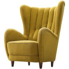 Danish Wingback Chair In Original Yellow Upholstery Furniture
