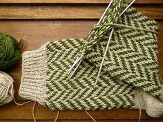 herringbone socks WIP, via Flickr.