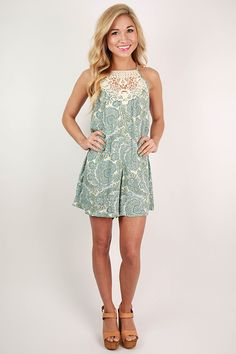 This precious little romper is one of our favorite rompers yet this season! The flowy fit, pockets, and crochet detail are just a few of the things we love about it! Pair it with sandals or wedges and pretty bracelets. You'll be cool and comfortable all day long in this cutie!