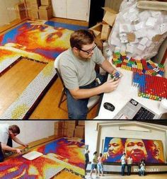 """RUBIK'S CUBE MOSAIC -- """"Dream Big"""" by Pete Fecteau -- A must see. This Martin Luther King mosaic is composed of officially licensed Rubik's Cubes. Martin Luther King, Art Crea, Rubik's Cube, Creative Portraits, Creative Artwork, King Jr, Akita, Oeuvre D'art, Dream Big"""