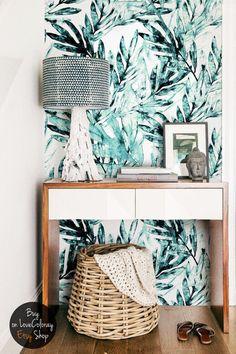Feuilles de palmier aquarelle fond d'écran amovible   Art de la feuille de palme   Fond d'écran tropical   Aquarelle décoration florale #33