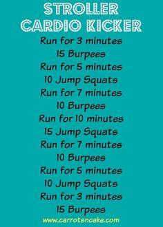 Kinderwagen Cardio Kicker Workout - Running - Treadmill Workouts, Killer Workouts, At Home Workouts, Quick Workouts, Running Workouts, Running Tips, Post Baby Workout, Pregnancy Workout, Boot Camp