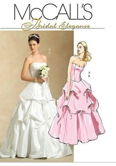 Popular McCall us Sewing Pattern Bridal Elegance Misses u Formal Top and skirt Description Lined and underlined close fitting strapless top has boni