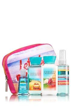 Endless Weekend - Let's Be Mermaids Gift Set - Bath & Body Works - Be beach-bound! This cute, convenient bag is the perfect complement to on-the-go fragrance fun. Filled with a germ-killing PocketBac (1 fl oz) and travel sizes of our super-lathering Shower Gel, hydrating Body Lotion & skin-loving Fine Fragrance Mist (3 fl oz each), this is one gift guaranteed to bring a smile.