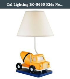 Cal Lighting BO-5665 Kids Novelty Lamp with White Fabric Shades, Yellow Cement Truck in White Finish. Cal Lighting Has An Exceptional Line Of Quality Products Aimed To Please Even The Most Discerning Of Consumers. Relish In The Design Of This 1 Light Kids Novelty Lamp; From The Details In The White Fabric, To The Double Coated Yellow Cement Truck With White Finish, This Kids Novelty Lamp Is Not Only Durable, But A Tastefully Elegant Showpiece.