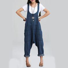 Spring Denim Jumpsuits Women Harem Pants Ladies Loose Jeans Gallus Rompers Female Suspender Big Size on http://ali.pub/2syh3