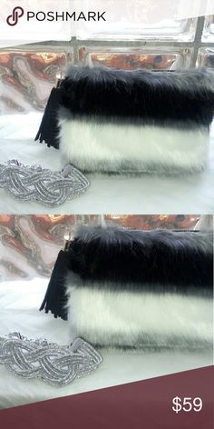 Plush Lux Crystal Black BajewelKits The Ba'Jewel Kits are monthly handpicked  handbag and jewelry kits for stylish women everywhere starting at $39.99 for all pieces inside. Kit includes  1 Beyond Beautiful Black/White/Gray  Medsize Faux Fur tassel Clutch bag  &strap 1 Zillion Australian Crystal Choker  The style you love for the price you want A MUST HAVE!! View our video on Instagram  @ Citichic2311fashions its just lovely BajewelKits  Bags
