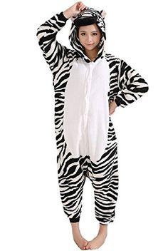 c6c8857e60 Introducing SPJ Zebra Kigurumi Pajamas Warm Loungewear Onesie Cosplay  Costume Unisex M. It is a