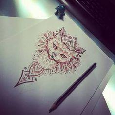Best Geometric Tattoo - awesome Geometric Tattoo - Resultado de imagem para cat geometric tattoo dotwork...
