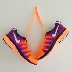 {Nike} Flyknit Lunar 2 These are women's size 10. Color: Orange + purple. Super cute and the most comfortable Nike in my opinion. Brand new, never been worn. ❗️Price is firm, even when bundled❗️  ❌ No Trades/ No PayPal  ❌ No Lowballing  ✅ Bundle Discounts ✅ Ship Same or Next Day  % Authentic Nike Shoes Sneakers