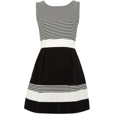 Wal-G Sleeveless Round Neck Striped Banded Dress ($63) ❤ liked on Polyvore