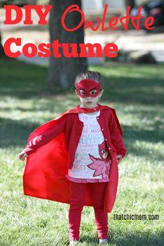 DIY Owlette costume, PJ Masks costume, Owlette mask, Owlette cape