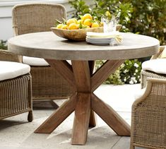 Abbott Concrete Top Round Fixed Outdoor Dining Table | Pottery Barn