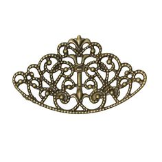 Filigree : 10 Antique Bronze Filigree Metal Jewelry Stampings | Brass Filigree Cabochon Settings -- Lead, Nickel & Cadmium Free 45420.P
