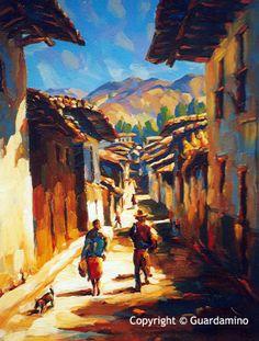 Peruvian Art, Naive Art, Old Houses, Home Art, Landscape Paintings, Wildlife, America, World, Animals