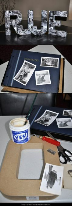 DIY - Picture covered initials...would be cute to do this for a centerpiece for a birthday party!