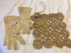 IN TRUNK FROM OLD ESTATE, THIS IS A NEAT SET, YOU FIRST GET THE LITTLE PAIR OF SMALL, PROBABLY FOR A YOUNG GIRL, OR WOMAN WITH SMALL HANDS, CROCHETED IVORY GLOVES, AND THEN YOU GET A LITTLE HAND CROCHETED DRAWSTRING PURSE, SLIGHTLY DARKER THAN GLOVES BUT IN NICE SHAPE, NO ISSUES FOR THEIR AGES. | eBay!
