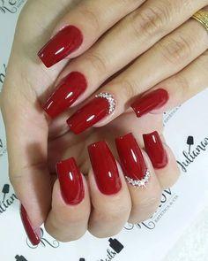 69 fotos de unhas decoradas com esmalte vermelho nails, 2019 ногти, идеи дл Red Nail Designs, Acrylic Nail Designs, Red Acrylic Nails, Pink Nails, Silk Wrap Nails, Nails 2018, Classy Nails, Super Nails, Nagel Gel